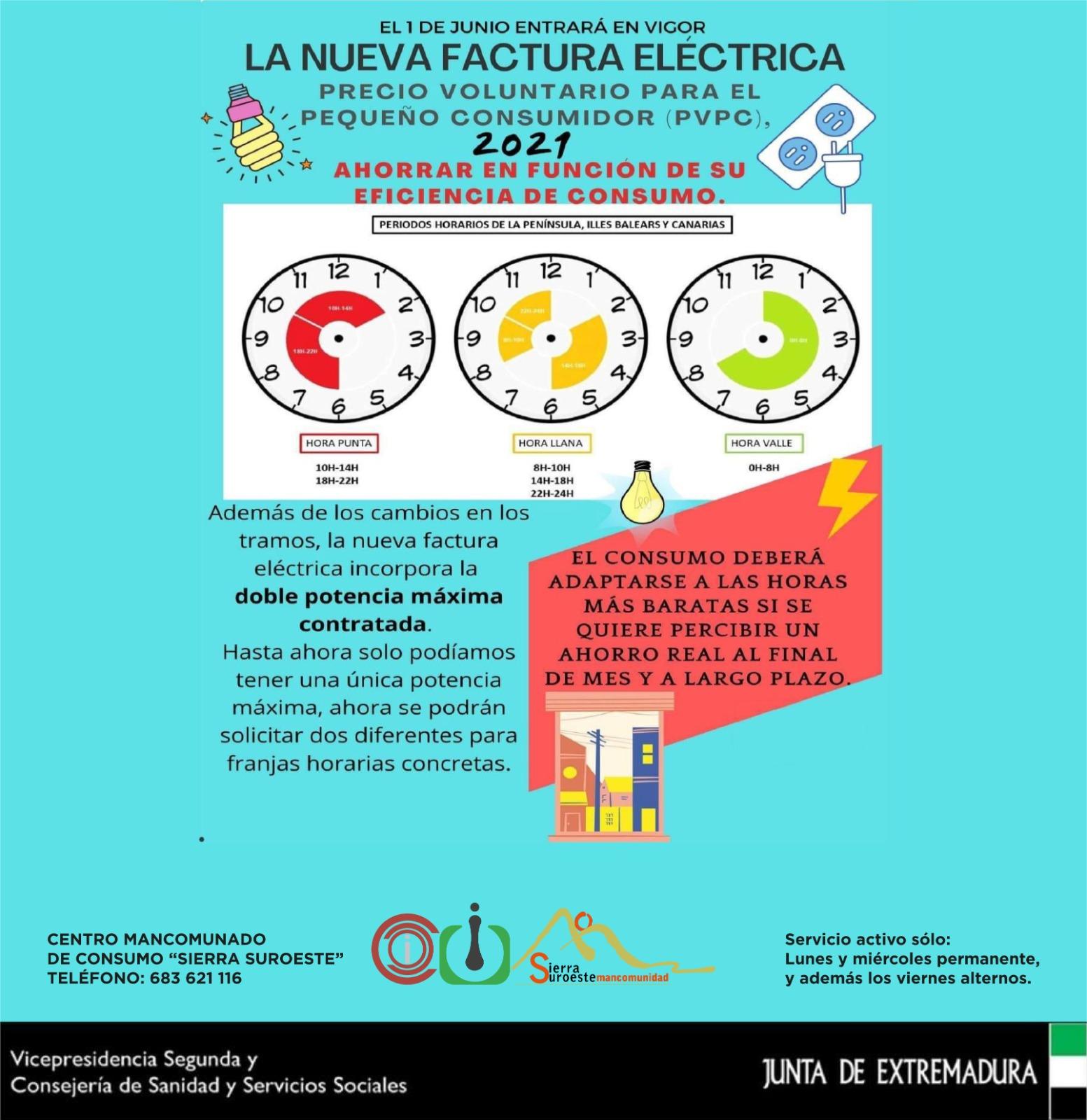 Información del Centro Mancomunado de Consumo sobre la nueva factura eléctrica que entra en vigor el 1 de junio
