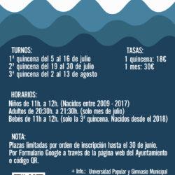 Información de los cursos de natación en Oliva de la Frontera para el verano 2021
