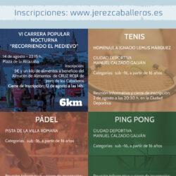 Abierto el plazo de inscripción para la VI Carrera Popular Nocturno y los torneos de pádel, ping pong y tenis de Jerez de los Caballeros