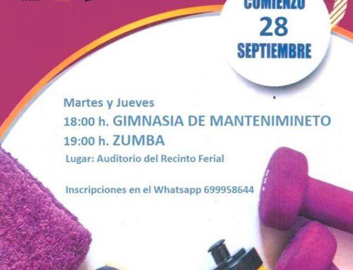 El 28 de septiembre comienzan la Gimnasia de Mantenimiento y Zumba en Zahínos
